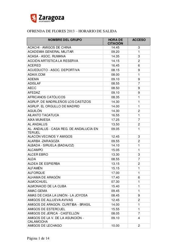 OFRENDA DE FLORES 2013 – HORARIO DE SALIDA Página 1 de 14 NOMBRE DEL GRUPO HORA DE CITACIÓN ACCESO ACACHI - AMIGOS DE CHIN...