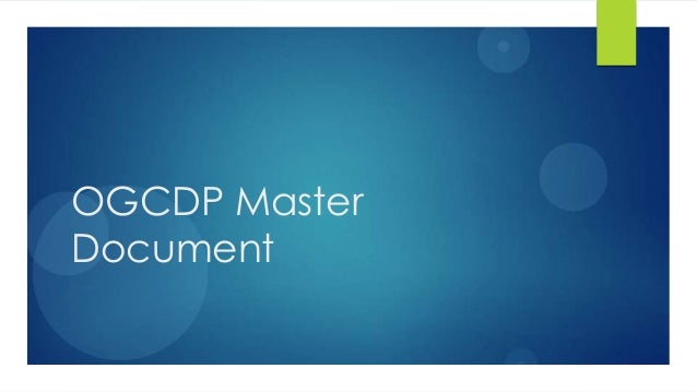 Ogcdp master document raising