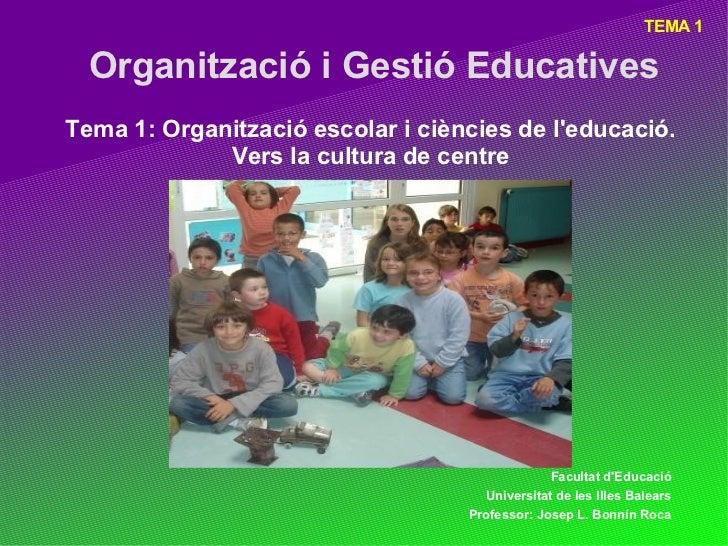 TEMA 1  Organització i Gestió EducativesTema 1: Organització escolar i ciències de leducació.             Vers la cultura ...