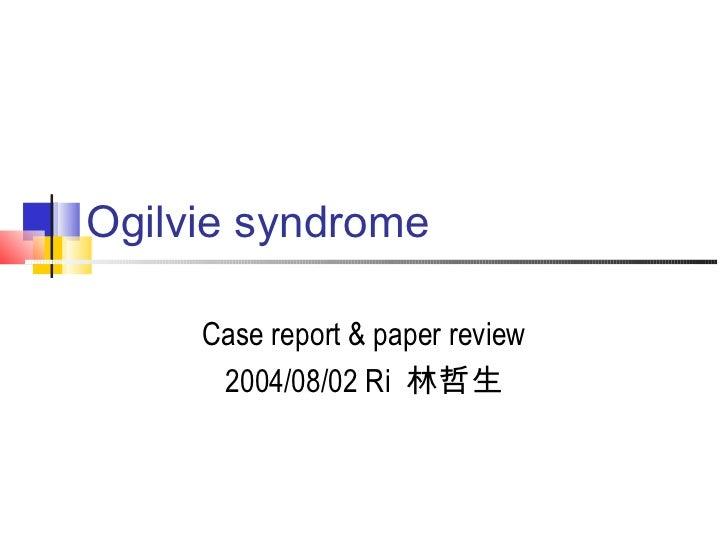 Ogilvie syndrom