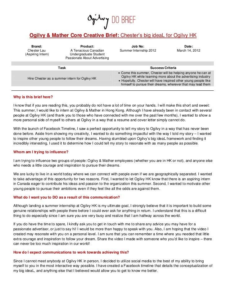 ogilvy do brief chester39s big ideal With ogilvy creative brief template