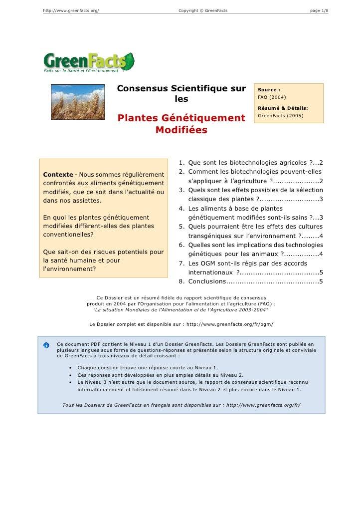 Les Plantes Génétiquement Modifiées