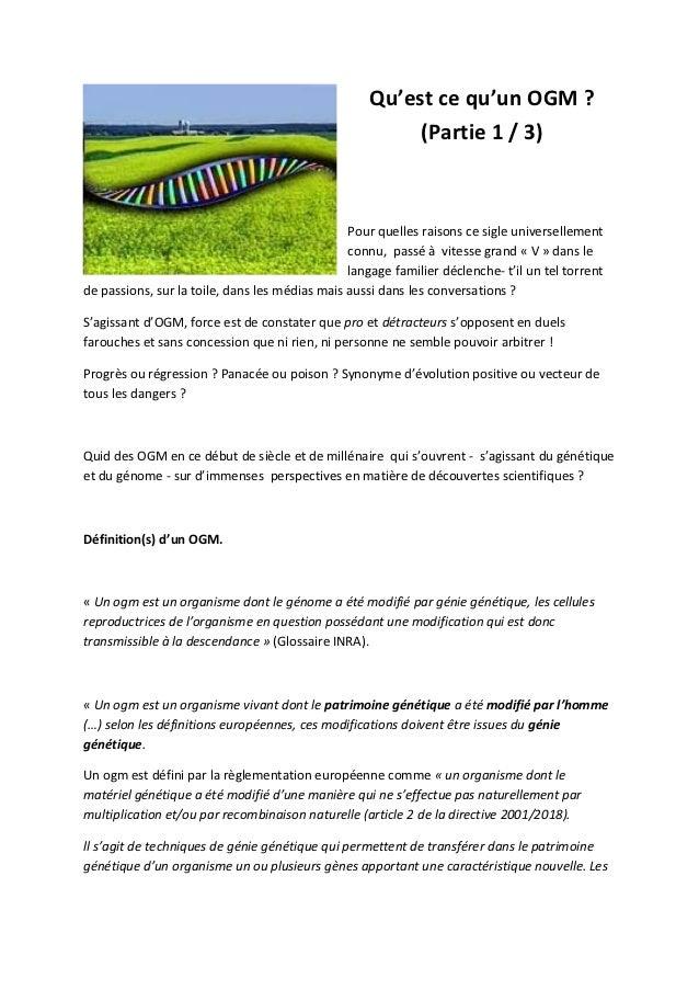 Qu'est ce qu'un OGM ?                                                         (Partie 1 / 3)                              ...