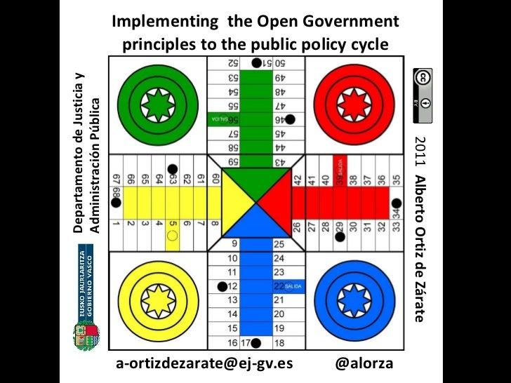Implementing  the Open Government principles to the public policy cycle Departamento de Justicia y Administración Pública ...