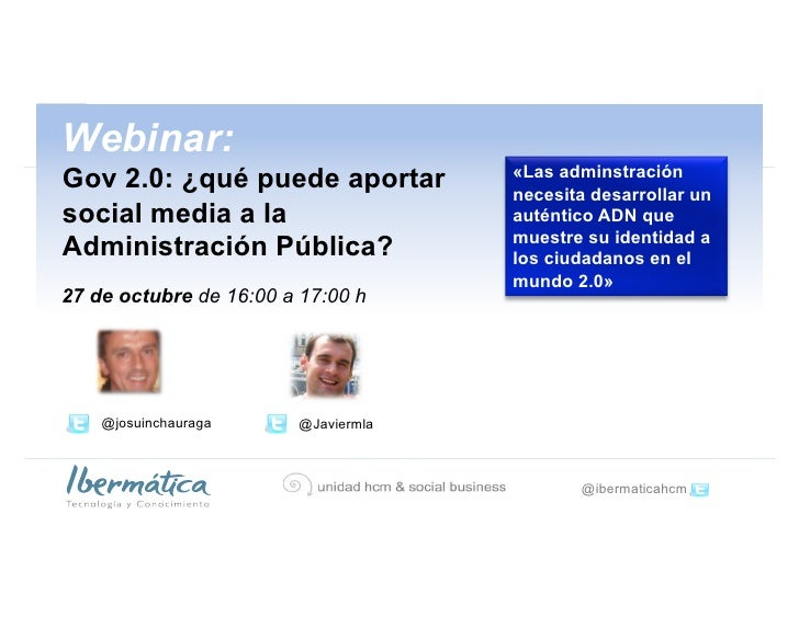 Gov 2.0: eficiencia y eficacia de la administración pública través de soluciones social media