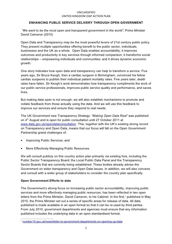 UNCLASSIFIED                                UNITED KINGDOM OGP ACTION PLAN        ENHANCING PUBLIC SERVICE DELIVERY THROUG...