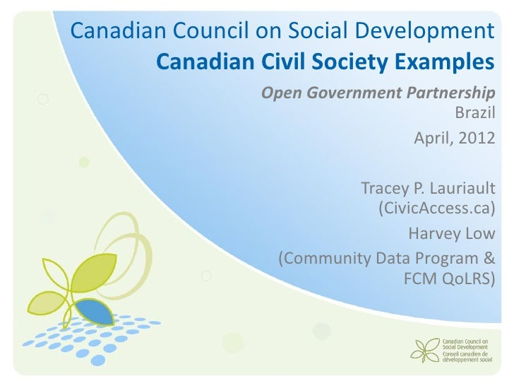 Canadian Council on Social Development       Canadian Civil Society Examples                 Open Government Partnership  ...