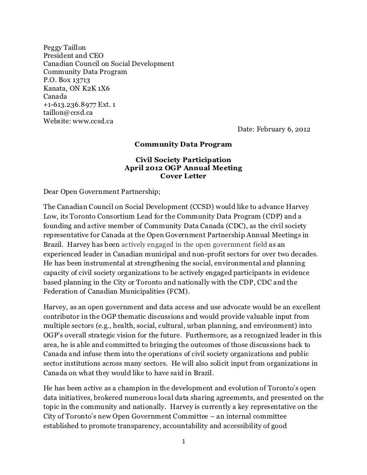 Community Data Program Submitted letter to Open Government Partneship