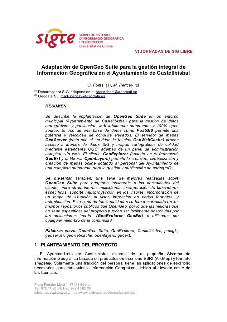 Adaptación OpenGeo Suite Castellbisbal
