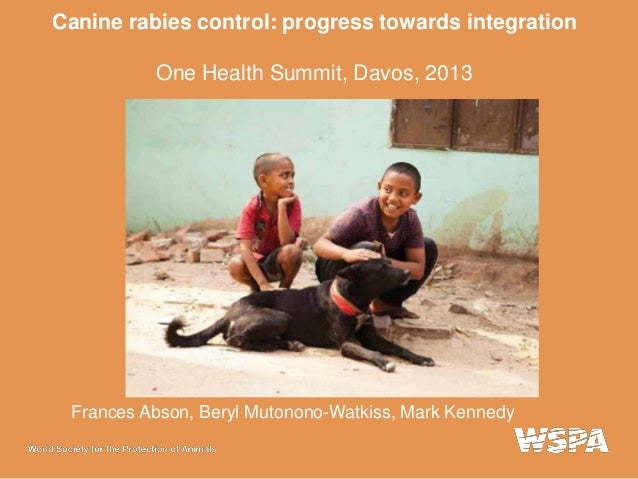 Canine rabies control: progress towards integration One Health Summit, Davos, 2013  Frances Abson, Beryl Mutonono-Watkiss,...