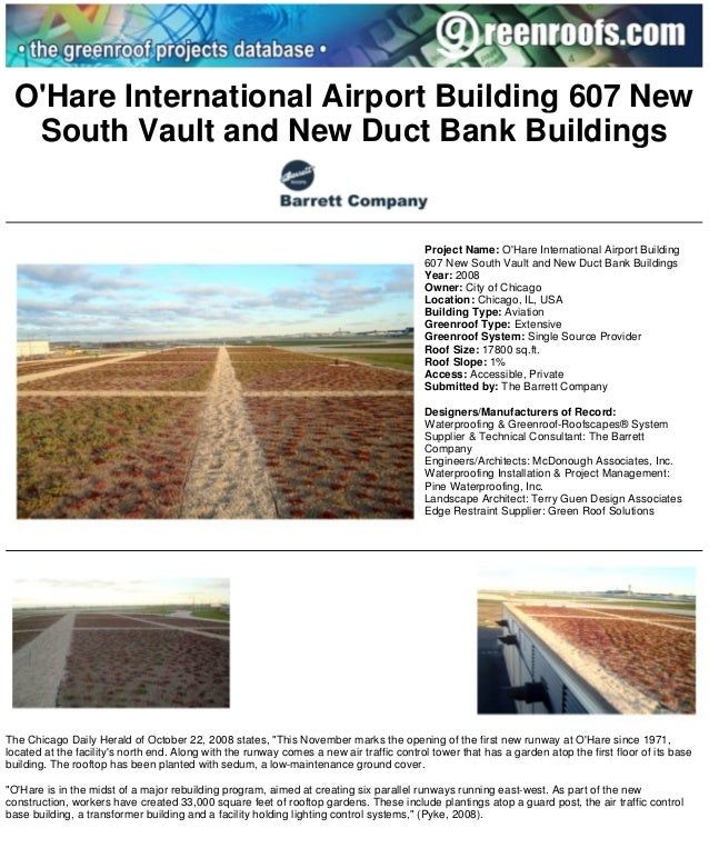 Greenroofs.com Projects - OHare International Airport Building 607 New South Vault an... Page 1 of 2  OHare International ...