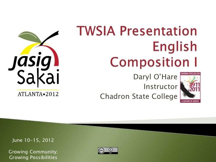 Daryl O'Hare, 2012 TWSIA Award Presentation, Jasig-Sakai Conference Atlanta, GA