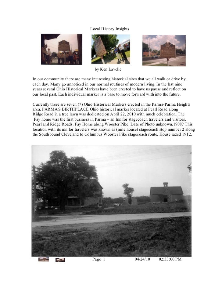 Ohio Historical Markers In Parma Area  Article 4232010