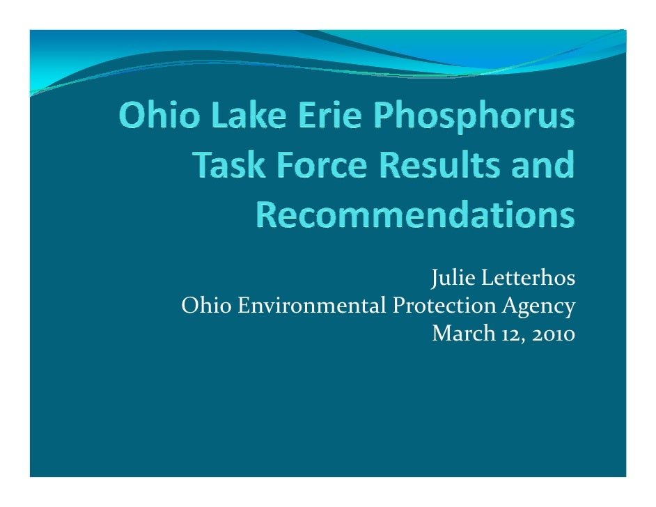 Julie Letterhos Ohio Environmental Protection Agency                        March 12, 2010