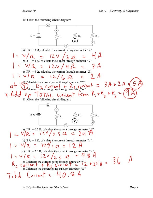 Ohm's law's calculations