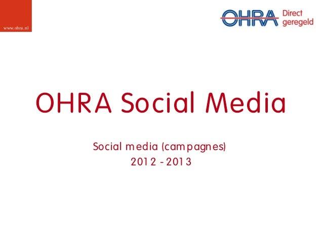 www.ohra .nl               OHR A Social Media                   Social m edia (cam pagn es)                           201 ...