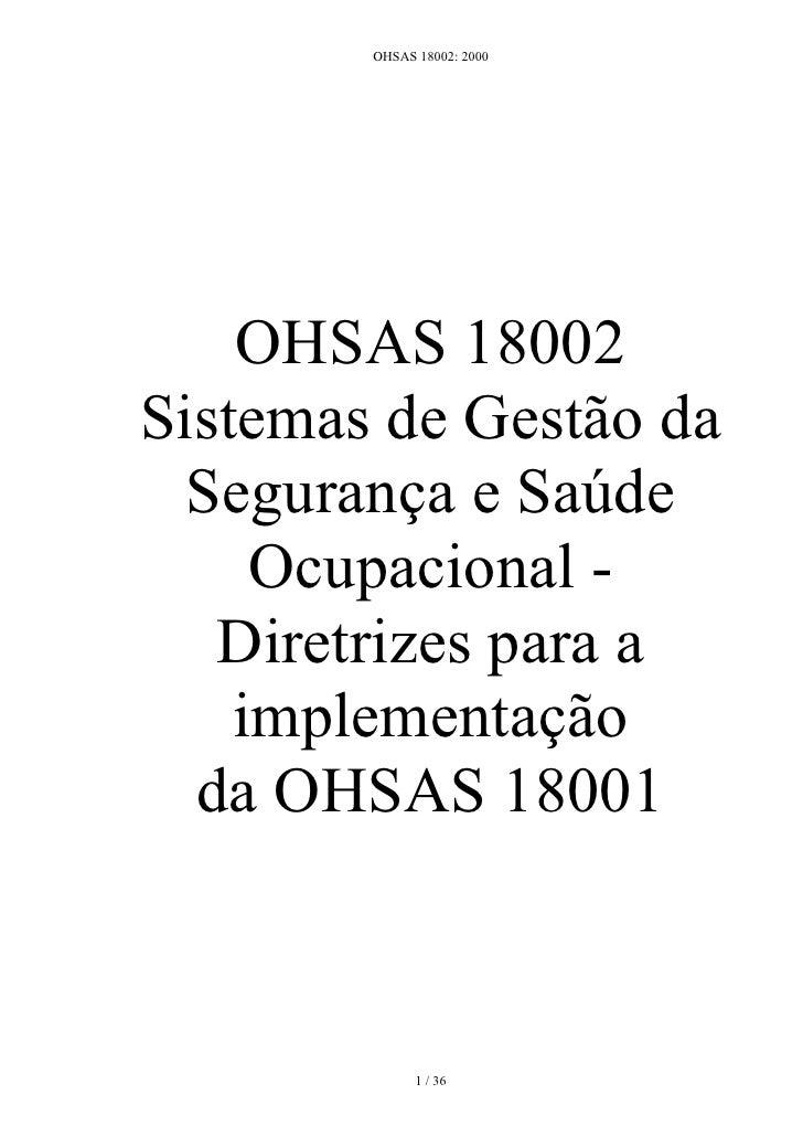 OHSAS 18002: 2000 em Português