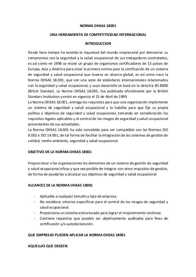 NORMA OHSAS 18001 UNA HERRAMIENTA DE COMPETITIVIDAD INTERNACIONAL INTRODUCCION Desde hace tiempo ha existido la inquietud ...