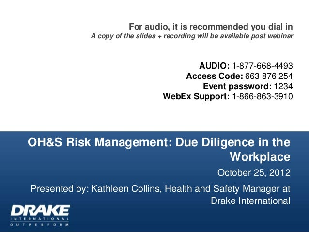 OH&S Risk Management: Due Diligence in the Workplace