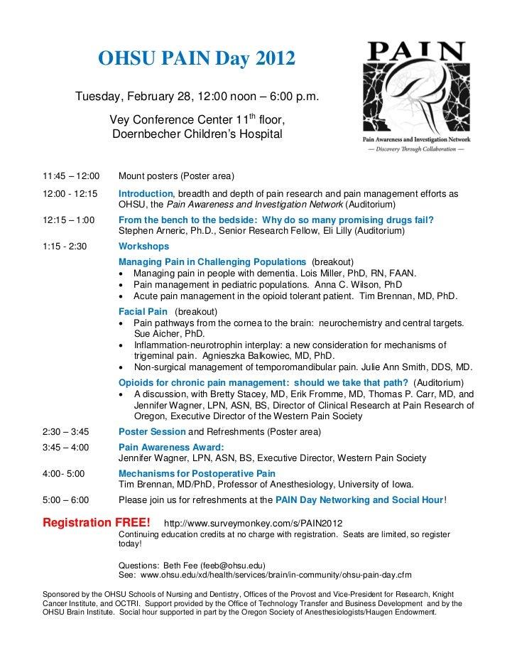 Ohsu pain day2012 schedule