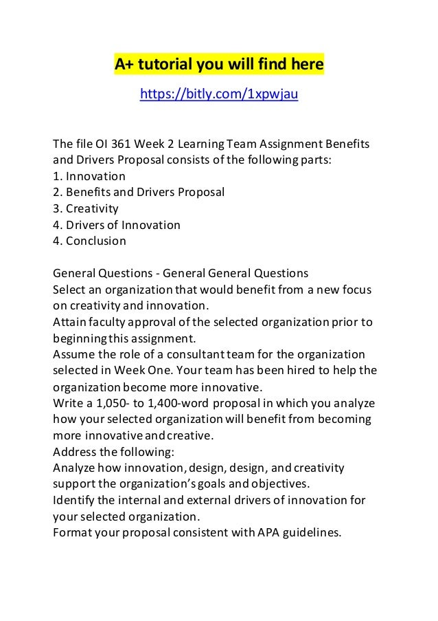 benefits and drivers proposal oi 361
