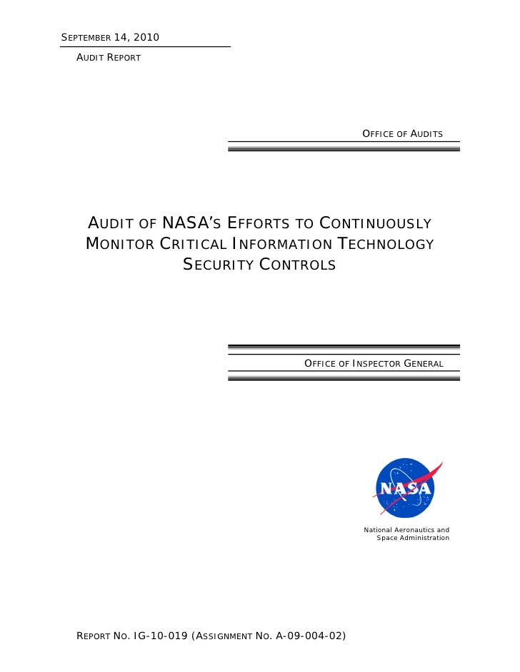 OIG: Information Technology Security: Improvements Needed in NASA's Continuous Monitoring Processes