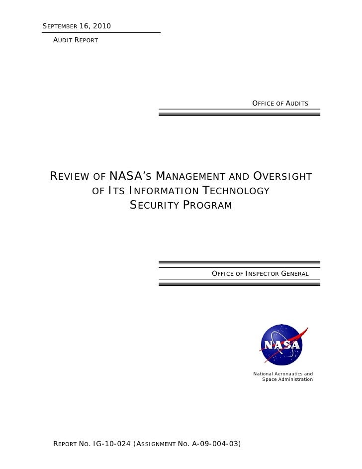 OIG: Review of NASA's Management and Oversight of Its Information Technology Security Program