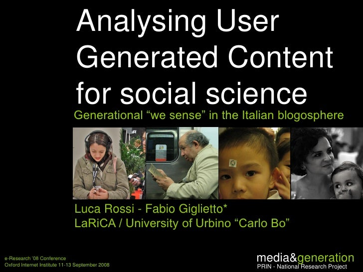 """Analysing User Generated Content for social science. Generational """"we sense"""" in the Italian blogosphere"""
