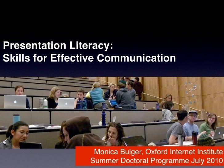 Presentation Literacy: Skills for Effective Communication