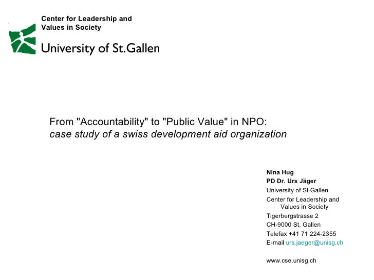 "From ""Accountability"" to ""Public Value"" in NPO:  case study of a swiss development aid organization  N..."