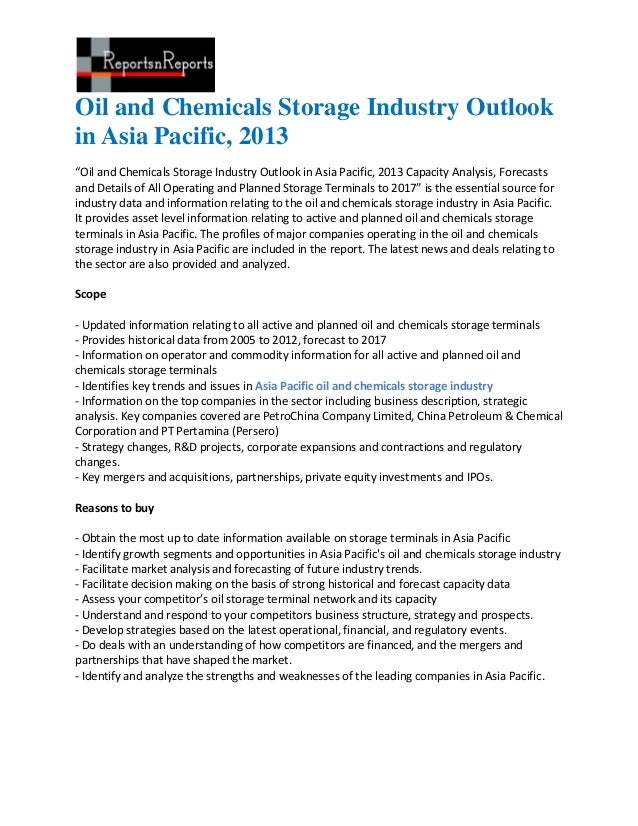 Oil and chemicals storage industry outlook in asia pacific, 2013