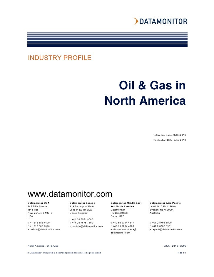 Oil and gas in nth america industry profile