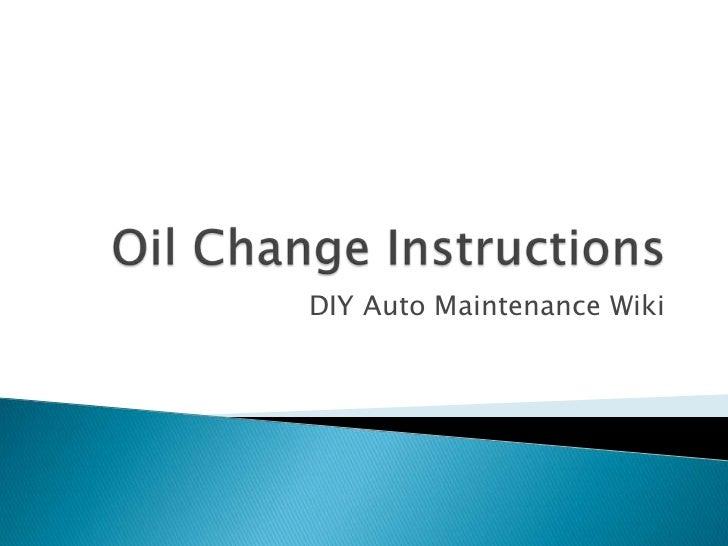DIY Auto Maintenance Wiki