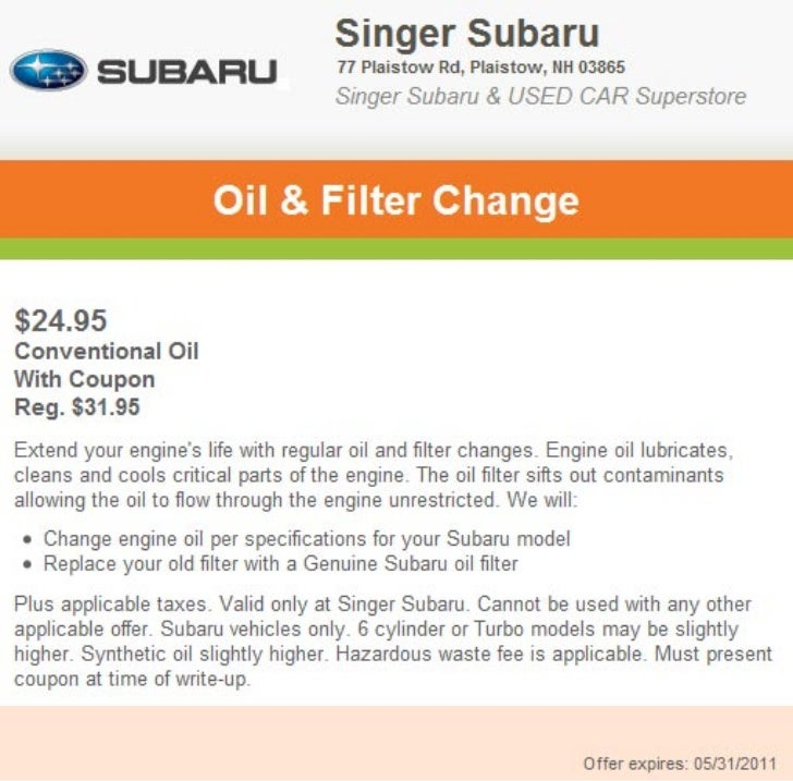 Oil & Filter Service Special Manchester NH   Singer Subaru