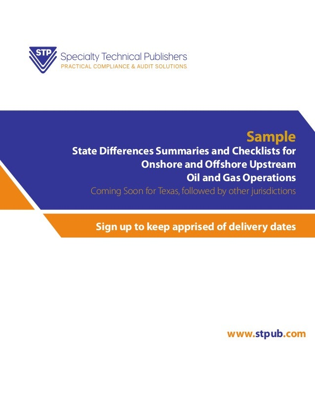 Sample  State Differences Summaries and Checklists for Onshore and Offshore Upstream Oil and Gas Operations Coming Soon fo...