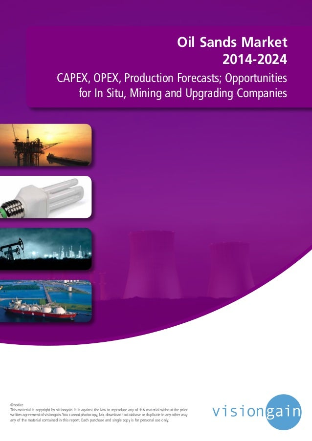 Oil Sands Market 2014-2024 CAPEX, OPEX, Production Forecasts; Opportunities for In Situ, Mining and Upgrading Companies ©n...