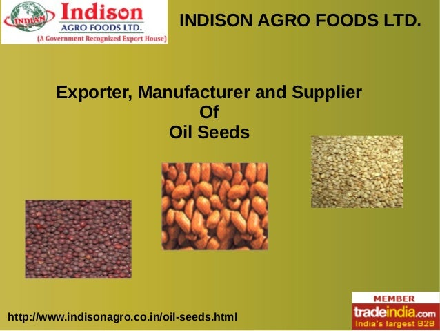 INDISON AGRO FOODS LTD. http://www.indisonagro.co.in/oil-seeds.html Exporter, Manufacturer and Supplier Of Oil Seeds