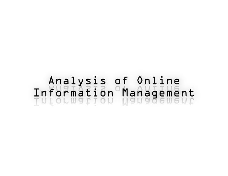 Analysis of OnlineTable of Contents                           Information                                             Mana...