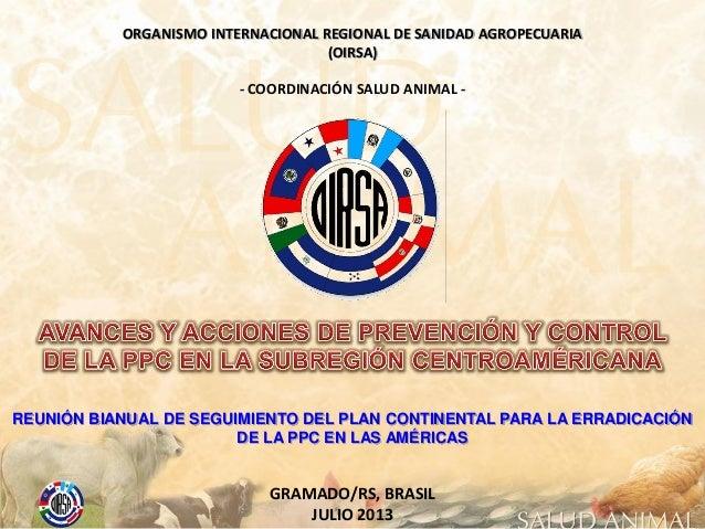 ORGANISMO INTERNACIONAL REGIONAL DE SANIDAD AGROPECUARIA (OIRSA) GRAMADO/RS, BRASIL JULIO 2013 - COORDINACIÓN SALUD ANIMAL...