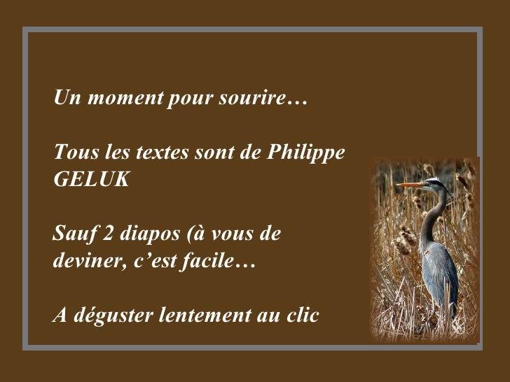 Un moment pour sourire… Tous les textes sont de Philippe GELUK Sauf 2 diapos (à vous de deviner, c'est facile… A déguster ...