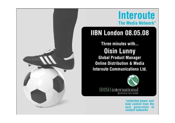 Irish international Business Network Oisin Lunny Interoute