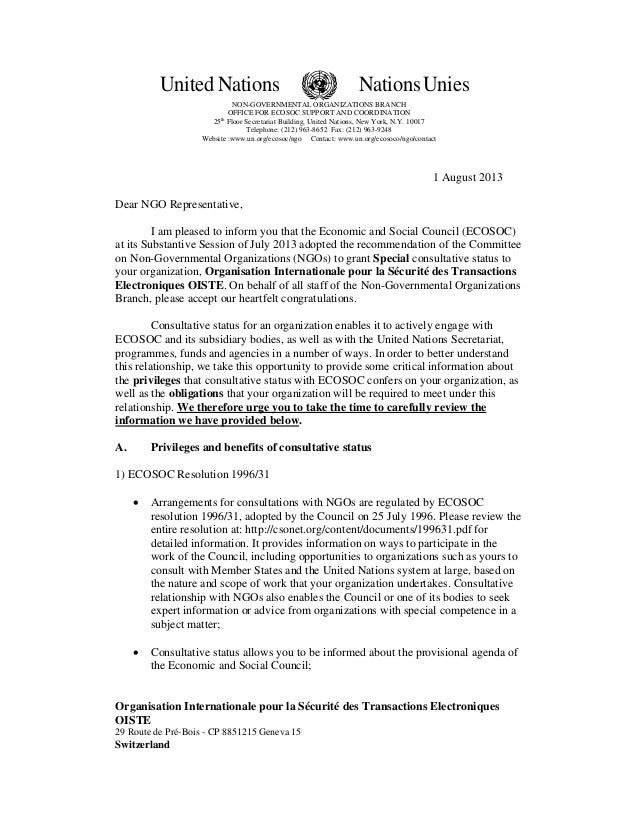 United Nations NationsUnies NON-GOVERNMENTAL ORGANIZATIONS BRANCH OFFICE FOR ECOSOC SUPPORT AND COORDINATION 25th Floor Se...
