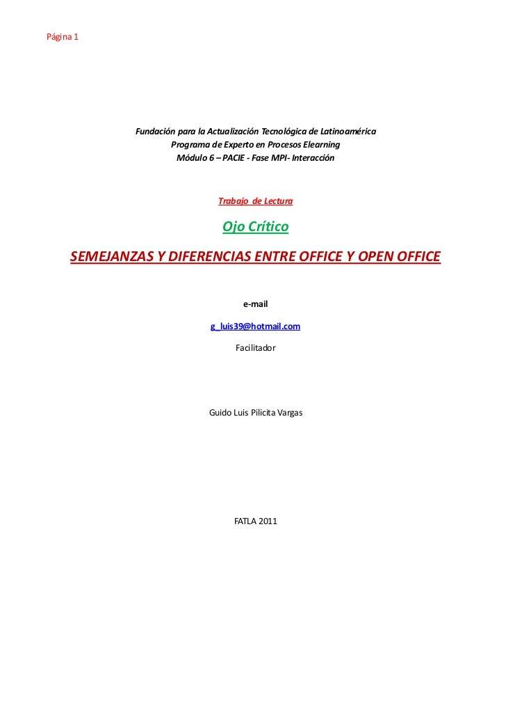 Página 1             Fundación para la Actualización Tecnológica de Latinoamérica                     Programa de Experto ...