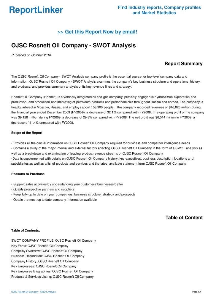 OJSC Rosneft Oil Company - SWOT Analysis