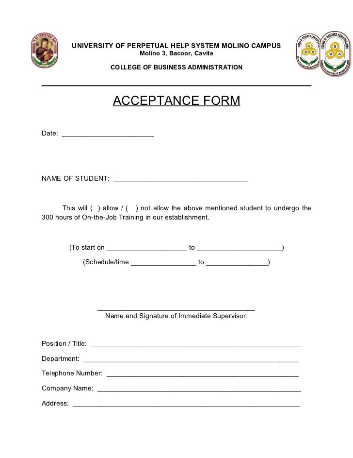 Acceptance Letter Sample Ojt  Amsauh