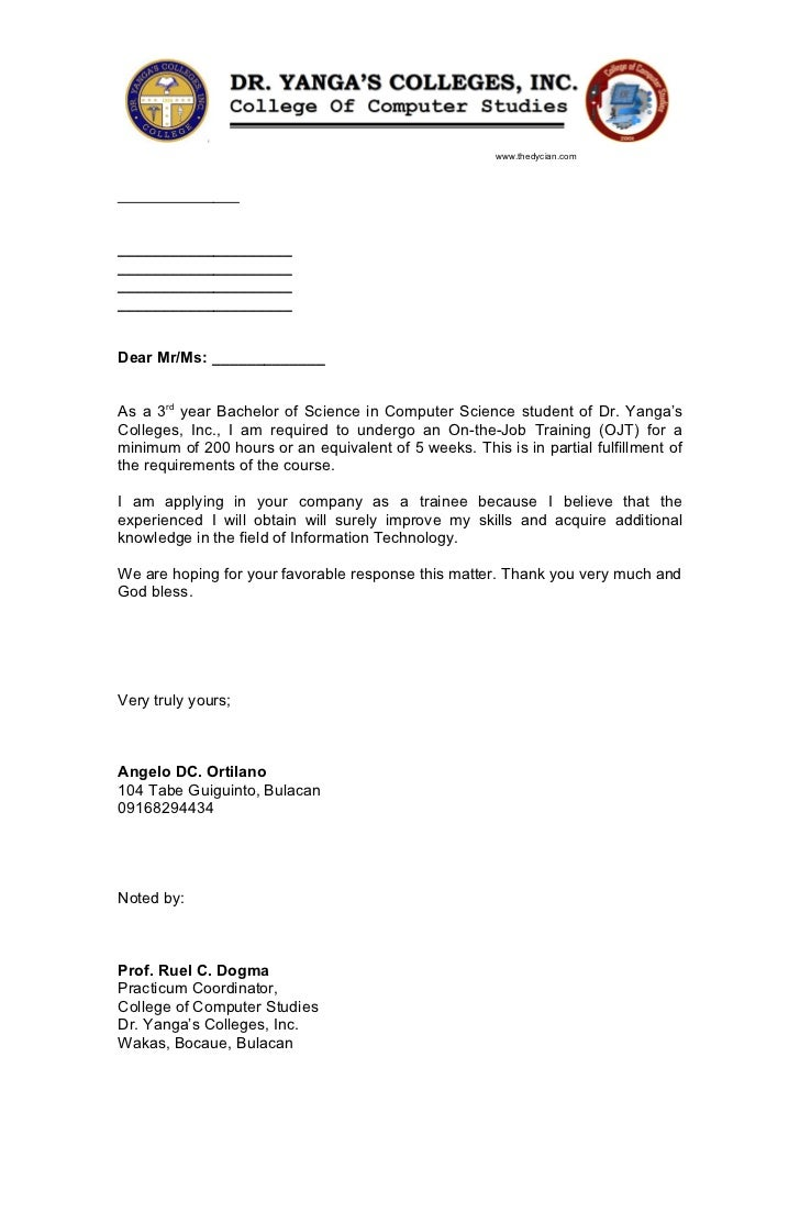 Sample application letter for ojt philippines | weddingsbyesther