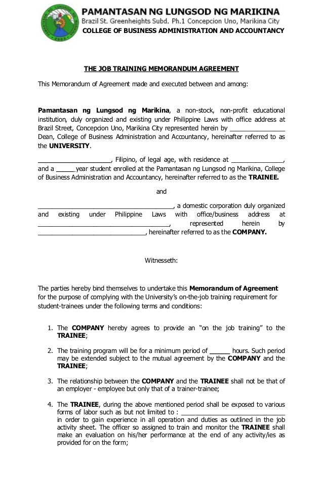 Unique Memorandum Of Agreement Letter Examples Images  Complete