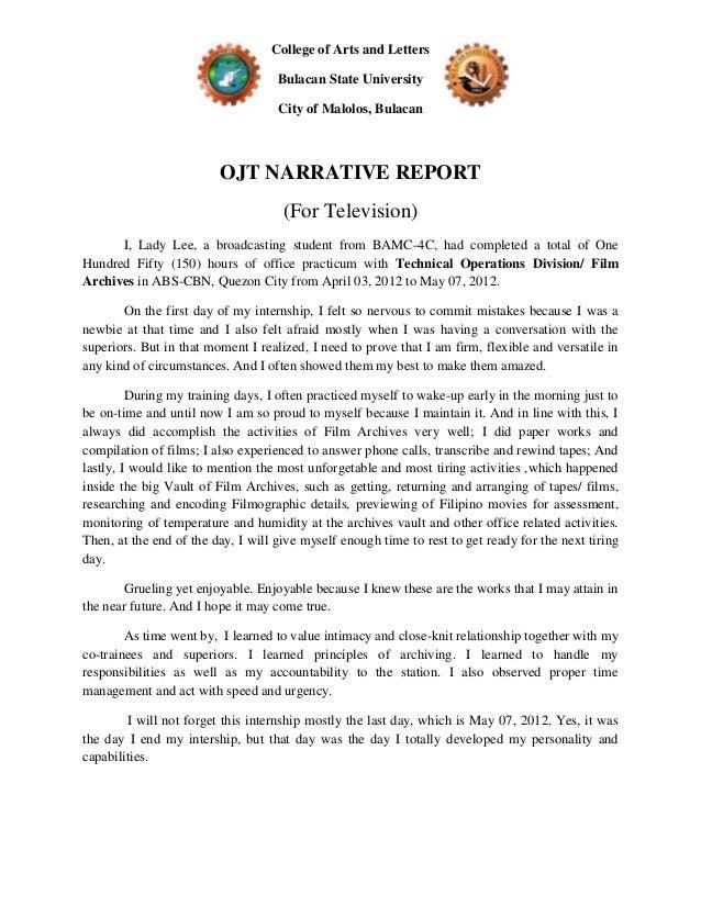 Sample Narrative Report Format – Printable Editable Blank