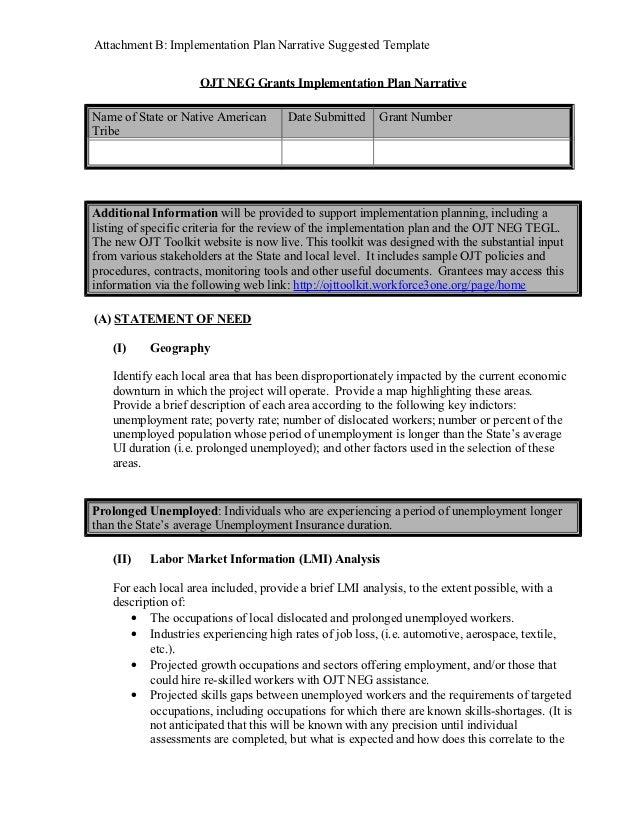 Attachment B: Implementation Plan Narrative Suggested Template                     OJT NEG Grants Implementation Plan Narr...