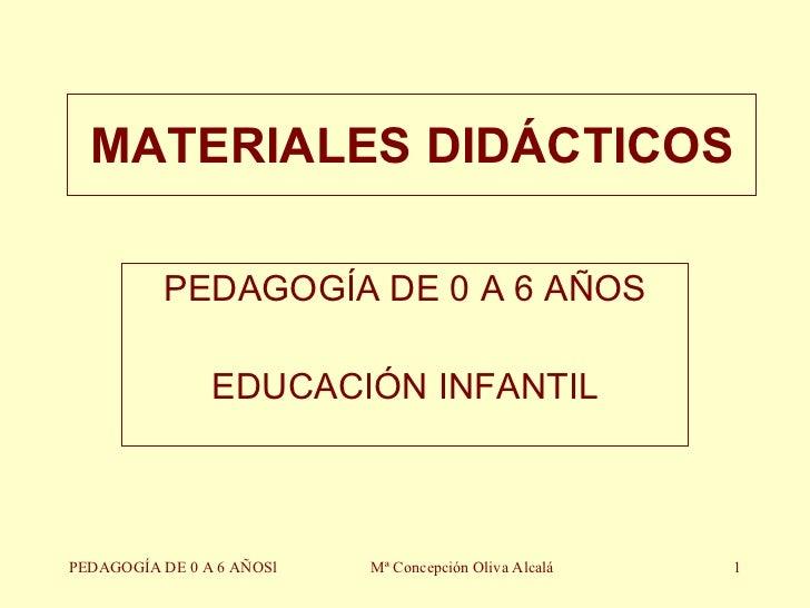 MATERIALES DIDÁCTICOS PEDAGOGÍA DE 0 A 6 AÑOS EDUCACIÓN INFANTIL